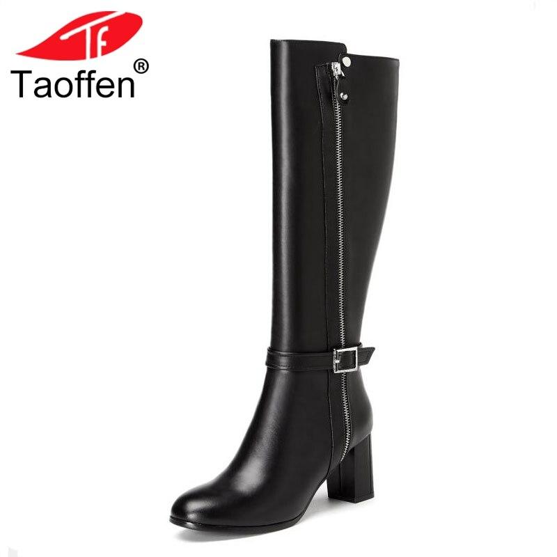 Hasta Altos Cuero Altas 34 Negro Rodilla De Botas Tacones Metal Moda Tamaño Invierno 39 Mujer Taoffen La Zapatos Hebilla Real qCn48E7