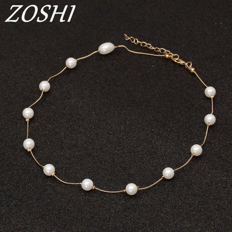 Zoshi бренд 13 шт. имитация Ожерелья с жемчужинами и Подвески Ретро колье Цепочки и ожерелья Золото Цвет цепи Bijoux Femme подарок для друзей