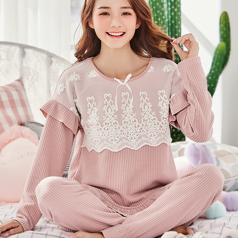 2018 Good Quality Maternity Clothes Breastfeeding Pajama Set For Nursing Long Sleeve Spring Autumn Cotton Lace Lovely Nightgowns breastfeeding nursing cover lactating towel breastfeeding cloth used jacket scarf generous soft good quality maternity clothes
