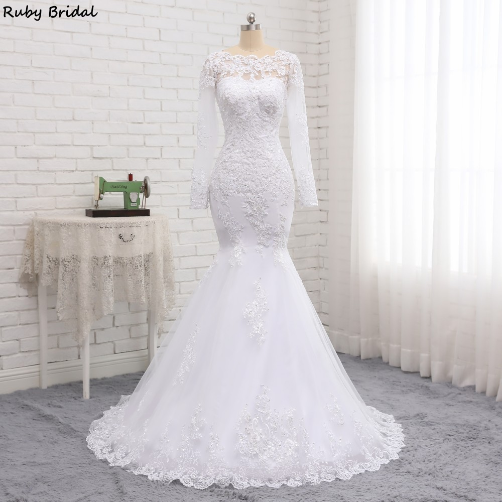 Ruby Bridal 2019 New Vintage Long Sleeves Mermaid Wedding Dresses Tulle Appliques Sweep Train Bridal Gowns