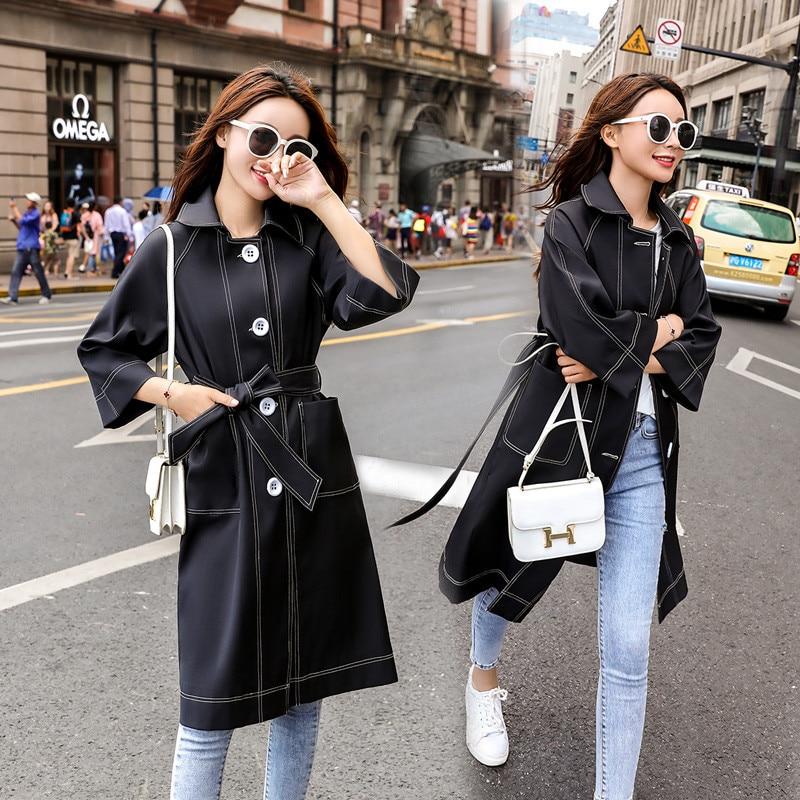 Solide Réglable Noir Manteau Hiver Survêtement Étudiant Plus Genou Cours W141 Tranchée Femmes Black Élégant Automne Mince Taille Long La I108w1q