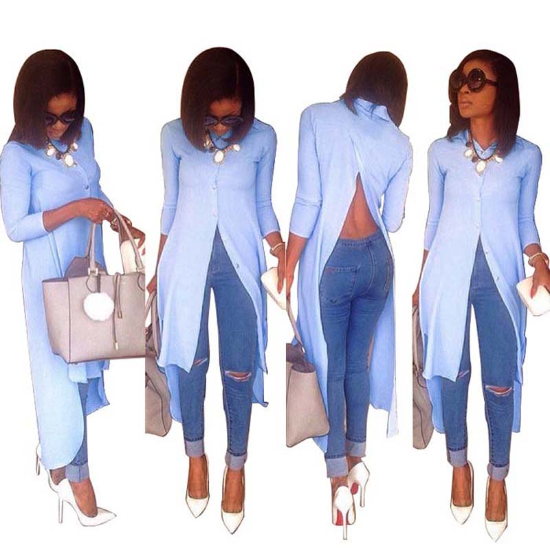 Africa Clothing Fashion Personality Irregular Long Sleeve Tops Women  Front Short Back Long Backless Turn-down Collar Blouse
