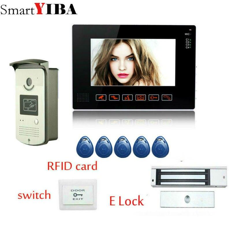 SmartYIBA 9 дюймовый цветной видеодомофон, Домашний домофон, дверной телефон с электрическим замком на болтах + ИК 5 шт., rfid камера доступа