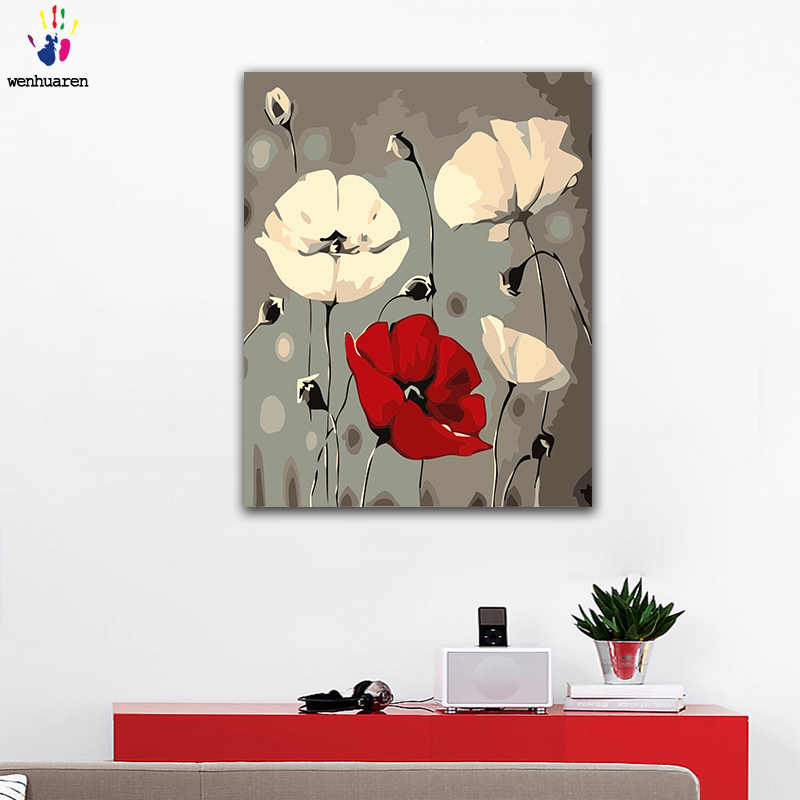 DIY colorings pictures by numbers with colors Red white poppies view picture drawing painting by numbers framed Home