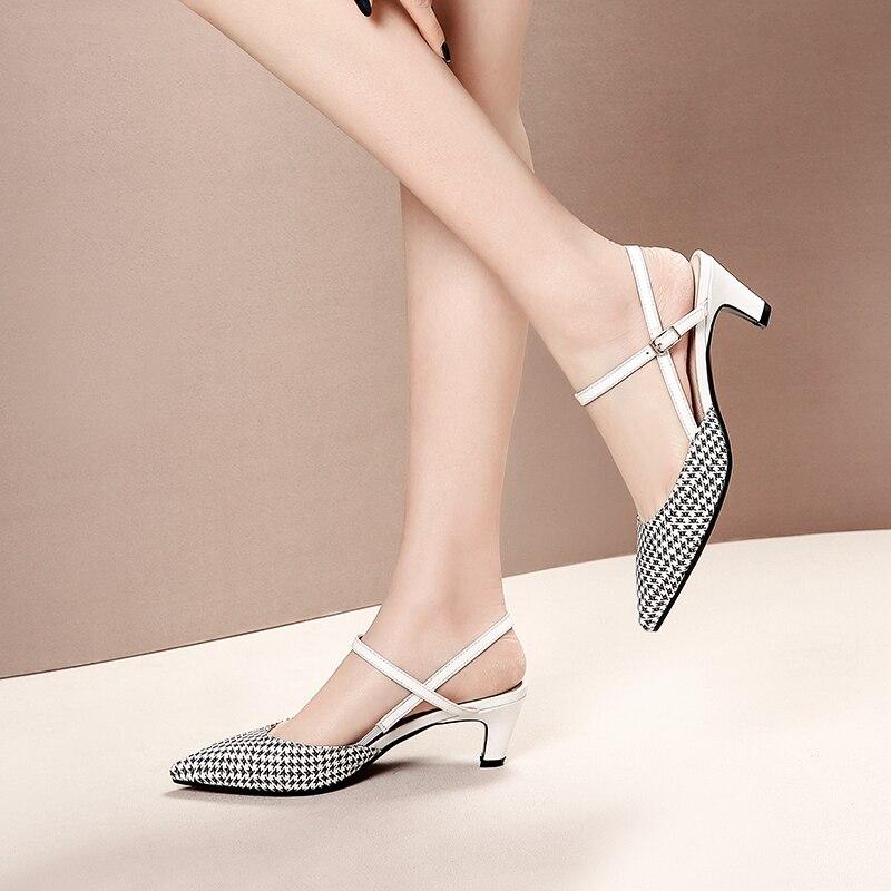 2019 ของแท้หนังขนาด 41 42 ผู้หญิงรองเท้าแตะ Pointed Toe รองเท้าส้นสูงรองเท้าแตะรองเท้าผู้หญิง-ใน รองเท้าส้นสูง จาก รองเท้า บน   3