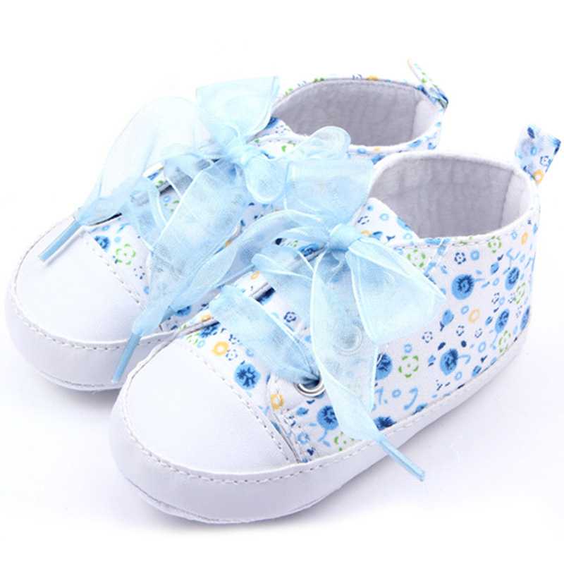 Newborn Baby Girls Floral Canvas Shoes Lovely Lace-Up Sneakers Girls Infant Toddler Girl First Walker Shoes For 0-18 Months