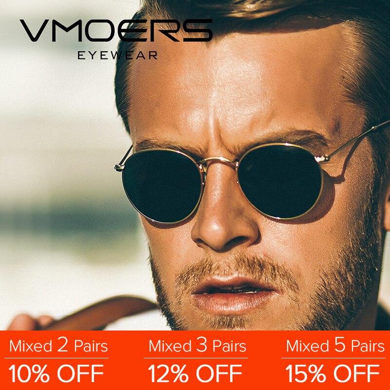 VMOERS rétro petites lunettes de soleil rondes hommes Vintage marque nuances mâle noir métal lunettes de soleil pour hommes 2018 créateur de mode Lunette