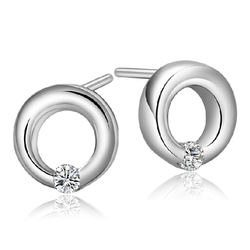 Silver round charm clove hitch crystal earrings lovely lady high quality jewelry manufacturers, wholesale