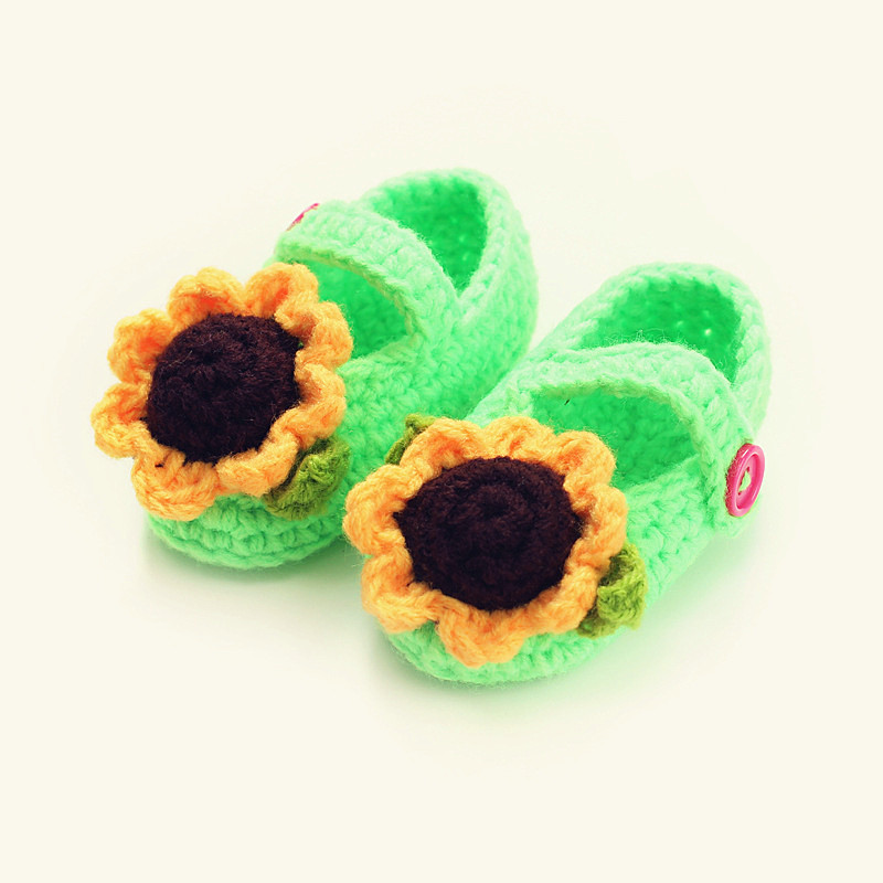 Cute sunflower design Handmade Knit baby knitting Woolen Sock Shoes baby photography props 5BS46