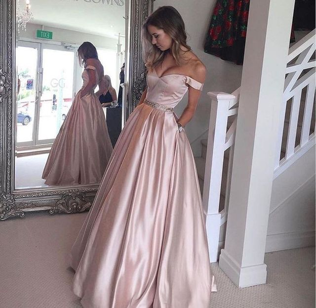 Rose Pastel Pink Vestido Largo Prom Dresses With Pockets 2017 Sexy