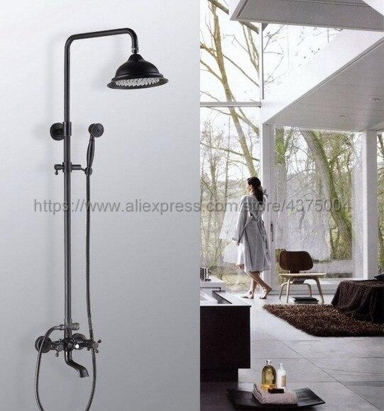 Mélangeurs de bain-douche en laiton frotté à lhuile   Ensemble de robinets de salle de bain et de douche noirs à deux poignées, mélangeurs de bain-douche muraux avec bec de baignoire pivotant, Nhg042