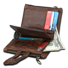 Anti Theft Brush RFID Genuine Leather Short Wallet Crazy Horse Real Mens Wallets Money Cards Coin Pocket Business Rfid