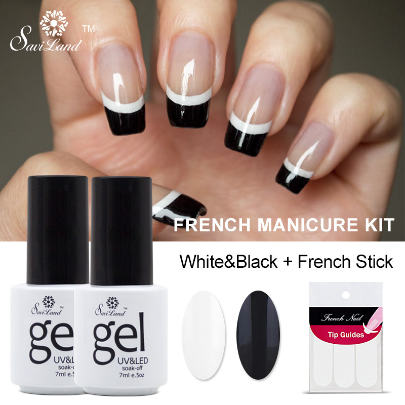 Saviland 2pcs French Manicure Set Nail Art Black White Uv Gel Polish Free Tip Guides Soak Off In From Beauty Health On