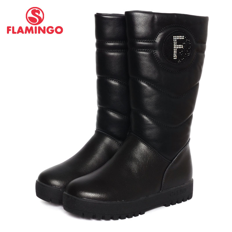 FLAMINGO 2016 new collection winter fashion boots with wool high quality anti slip kids shoes for girls W6YK041