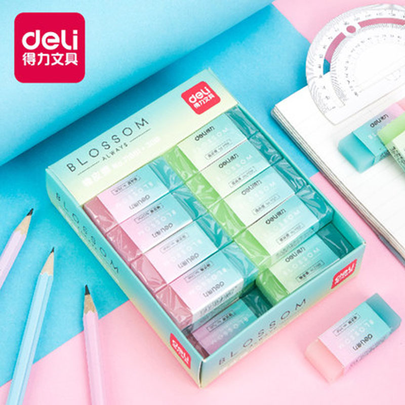 Deli Candy Color Translucent Eraser Art Painting Exam Sketch Cute Children Student Stationery Wipe Clean Pencil Eraser 71081