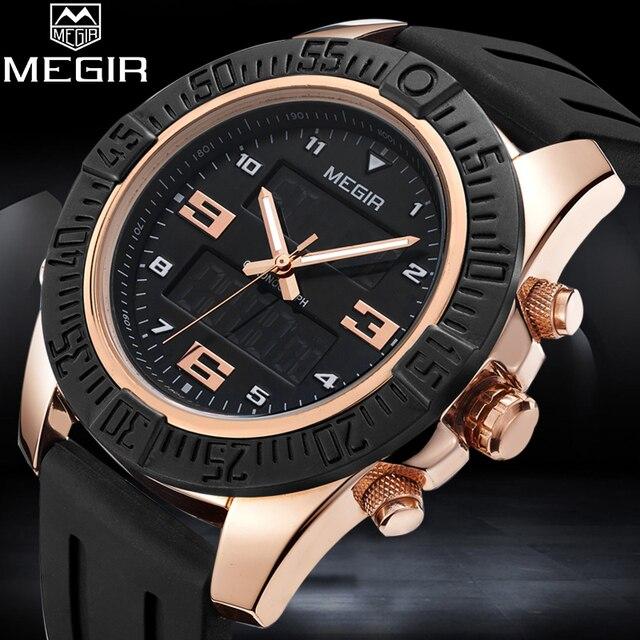 a23d2c52671 MEGIR Homem Moda relógio de Pulso Dos Homens Relógio Do Esporte Dupla  Afixação Masculino Multifuncional Relógio