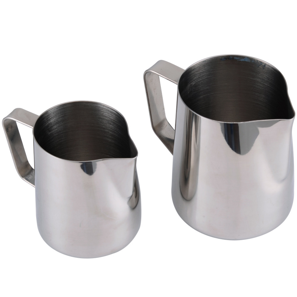 stainless steel milk frothing pitcher with measurement markings for espresso machine coffee milk frother and latte