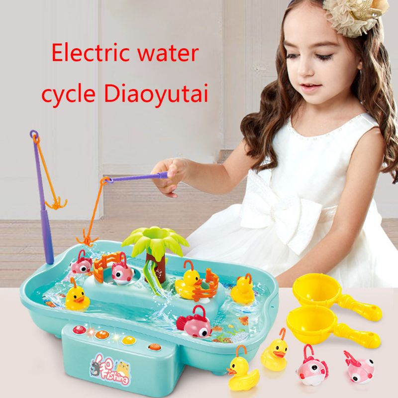Children's Water Toys Fishing Platform Electric Music Lighting Water Cycle Game Kids Gifts