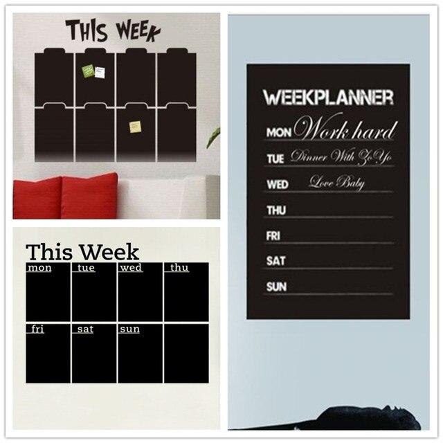 weekly Monthly Plan Calendar Chalkboard Wall Sticker MEMO Blackboard ...