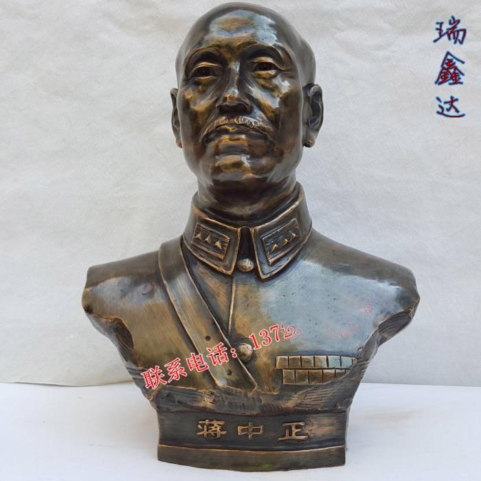 50 CM grand # TOP ART daffaires # chine Taiwan GUOMIN DANG leader jiang jieshi-jiang zhongzheng statue de portrait en Bronze50 CM grand # TOP ART daffaires # chine Taiwan GUOMIN DANG leader jiang jieshi-jiang zhongzheng statue de portrait en Bronze