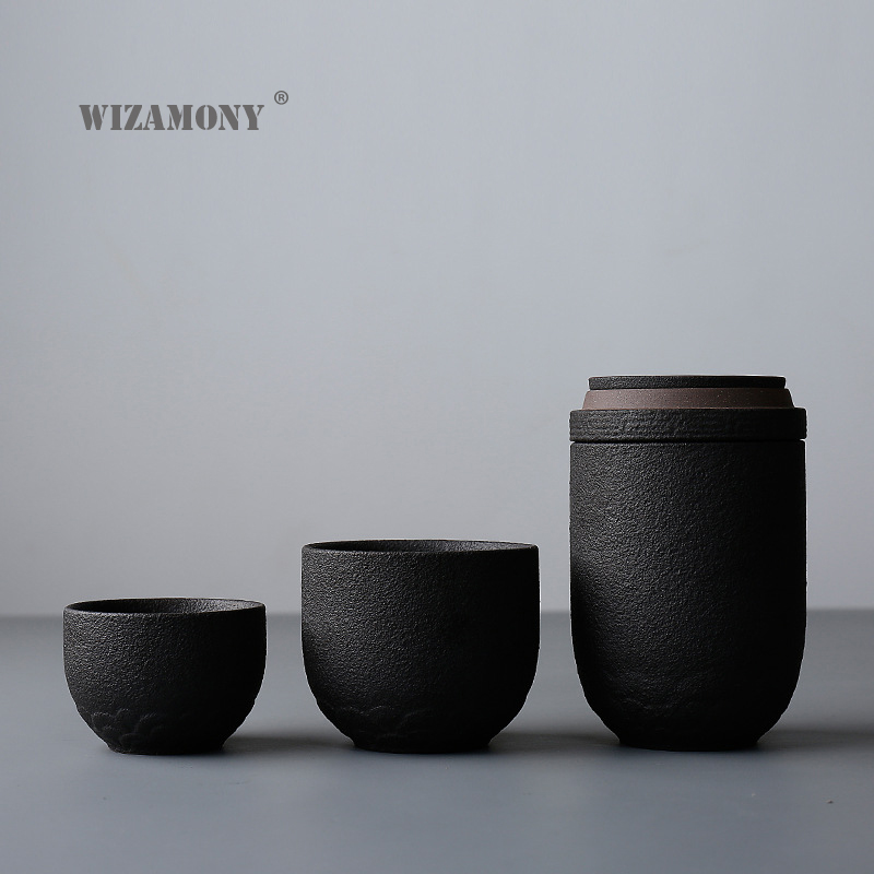 WIZAMONY Drinkware Kungfu Tea Set Tea Cup Pottery Ceramic Cup Filter Teapot for Travel Japanese Style Tea Set Kettle Coffee in Teaware Sets from Home Garden