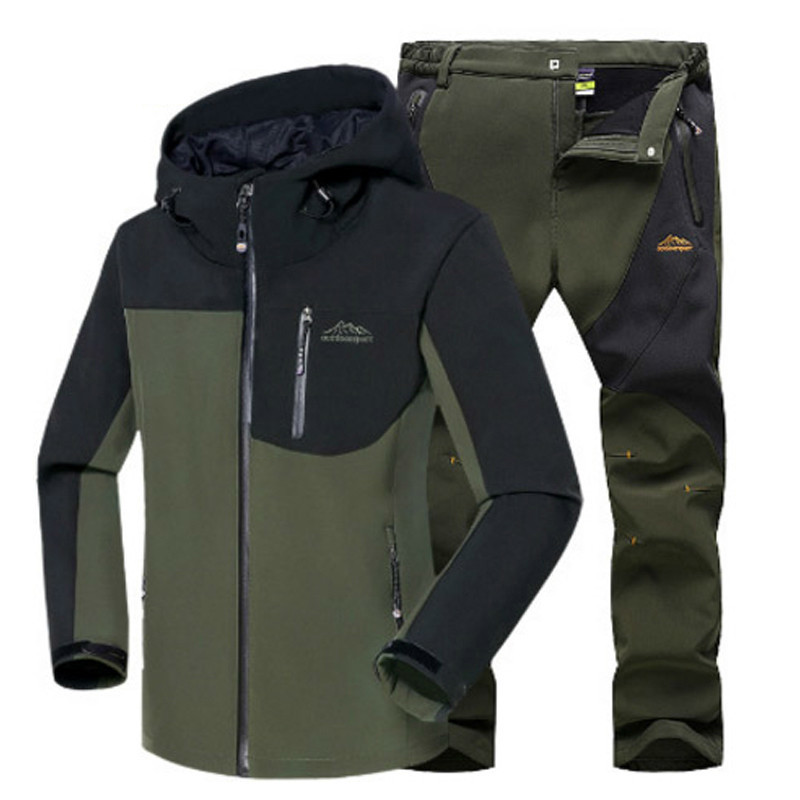 Man Winter Waterproof Fishing Camping Trekking Fleece SoftShell Outdoor Jacket Pant Set Sport Hiking Trousers 5XL S36 direnjie man winter waterproof fishing camping trekking fleece softshell outdoor jacket pant set sport hiking trousers 5xl s36