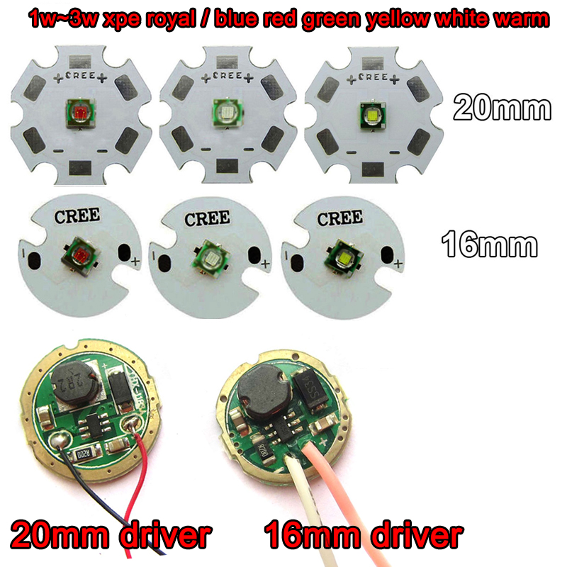 1pcs Cree XLamp XPE XP-E 1W-3W Red Green Royal Blue Yellow Cool / Warm White LED light+ 20mm 16mm base + 3V 3W 5W Driver