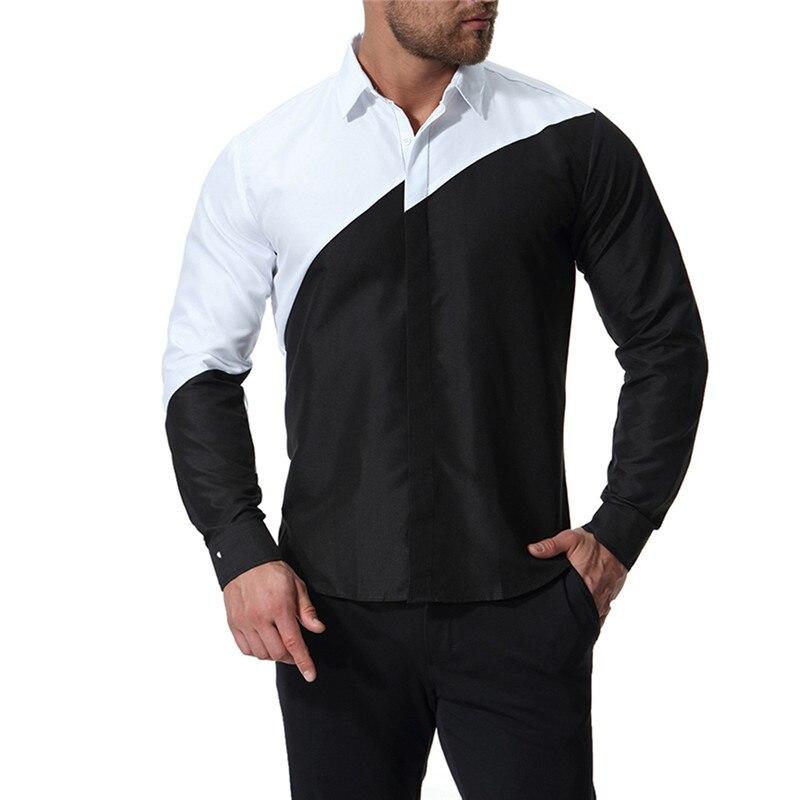 b26bdba3f0d Para Hombre de algodón blanco y negro Color de costura Slim Fit Camisas  Casual de los