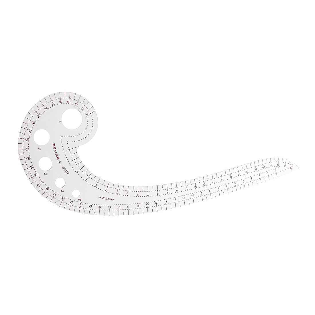 Comma Shaped 42cm Drawing Template Tool French Curve Ruler Clear