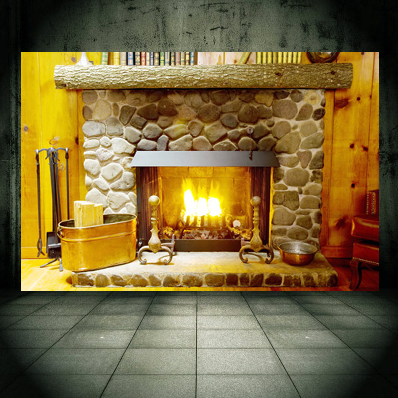 Fireplace wall mural wall paper personalized decal for wall decor ...