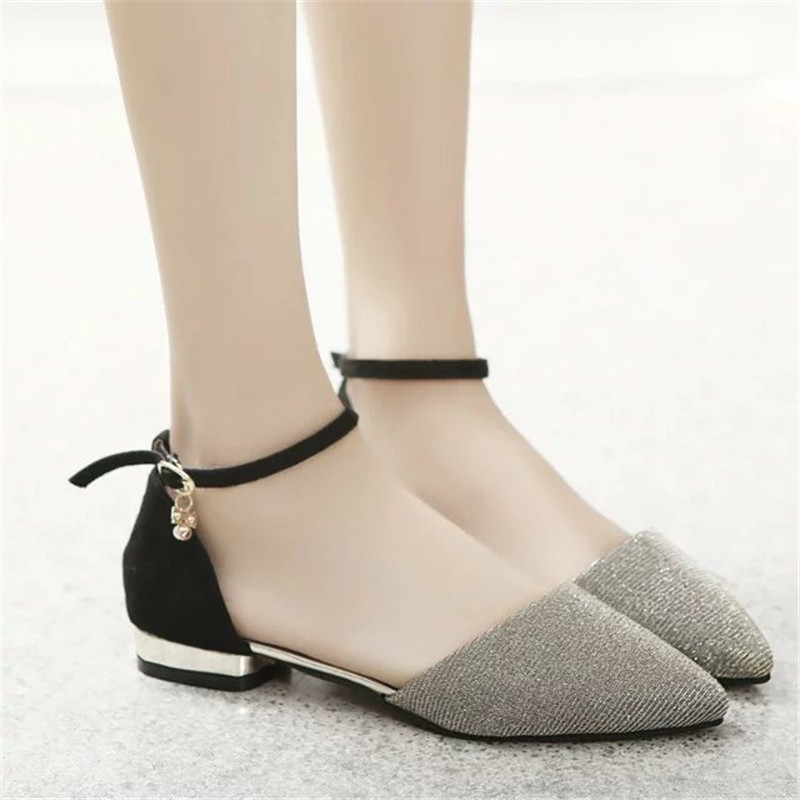 f3629c868fc2 2018 summer new Korean flat shoes with the word buckle with a toe tip flat  with diamond shoes-in Women s Flats from Shoes on Aliexpress.com