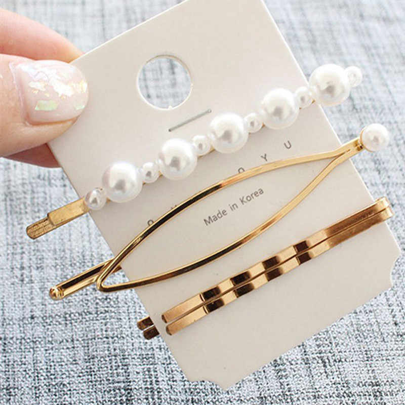 4Pcs/Set Pearl retro Metal Hair Clip Hairband Comb Bobby Pin Barrette Hairpin Headdress Accessories Beauty Styling accessory