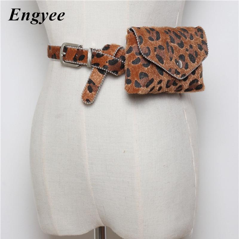 Engyee Stylish Leopard Waist Bag Women Fanny Pack Hip Bag Fashion Beads Edged Belt Bags Ladies Travel Phone Pouch PU Waist Pack stylish mid waist cuffed denim ripped shorts for women