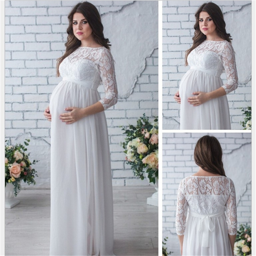 82fe11b2e9f Maternity Women Wedding Dress Red Wine Evening Party Lace Elegant Pregnancy  Long Loose Clothes Pregnant Woman Gown Dresses S~2XL-in Dresses from Mother  ...