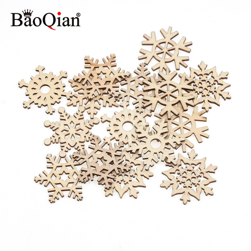 20pcs Mixed Snowflake Shape Home Decoration Clip Art Wooden Crafts Diy Creative Christmas Tree Decoration Wood Chips