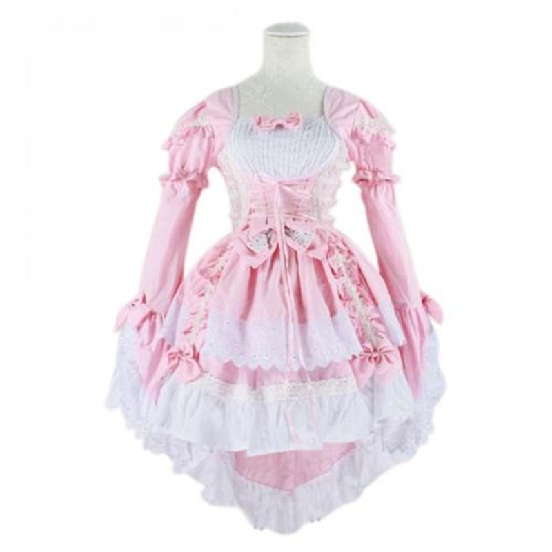 Lolita Japan Ruffle Fancy Princess Dress Maid Outfit Anime Cosplay Costume Party