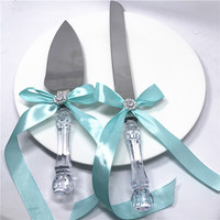 Free Shipping 2pcs Set Handmade Wedding Stainless Steel Cake Knife Set Tiffany Ribbon Handle Cake Shovel