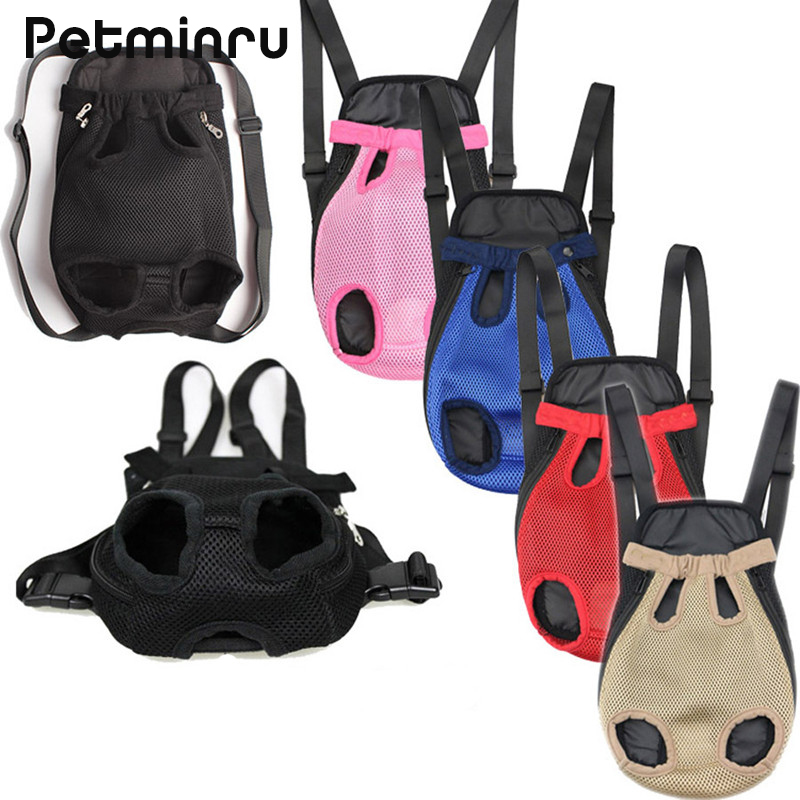 Petminru Pet Carrier Five Holes Dog Front Chest Backpack Outdoor Dog Carrier Bag Mesh Cat Puppy Dog Carrier Travel Tote Bag