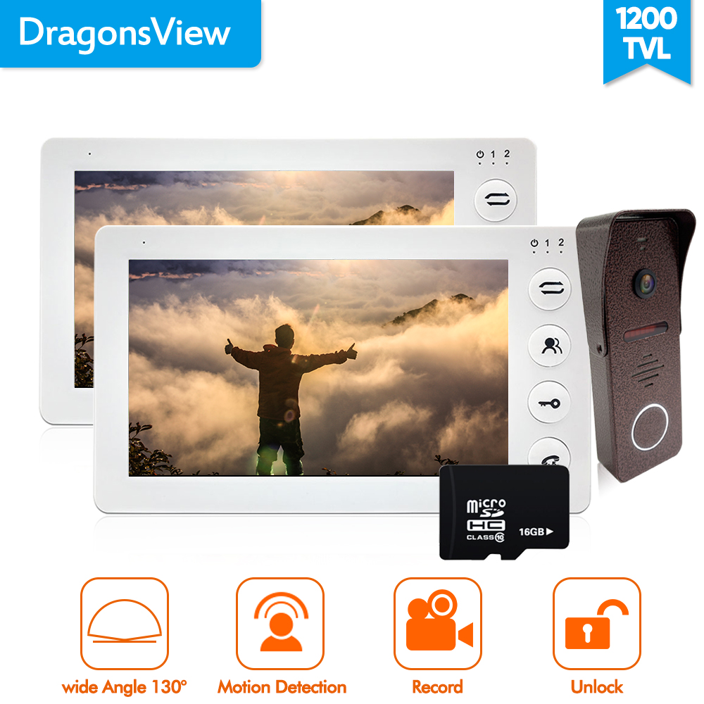 Dragonsview White Video Intercom Door Phone Doorbell Camera Wide Angle 130 Degree 2.3mm 16GB SD card 2 Monitors  1 Outdoor Panel