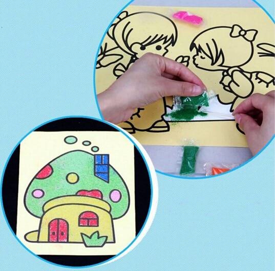 1 ШТ. 12X16 СМ Дети Дети Рисования, Игрушки Песок Картины Малыш DIY Ремесла Игрушки Образования Шаблон Случайный