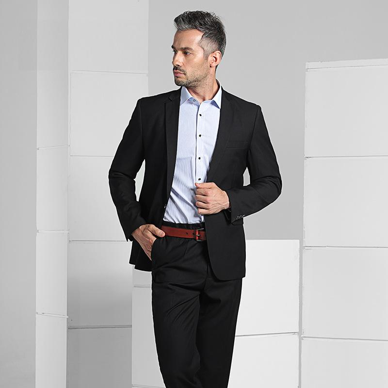 Men's Formal One Button Business Suits Slim Fit Quality Gentlemen Suits Set Bridegroom Wedding Dress Suits Black FS-116