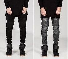 Mens Skinny Jeans Men Runway Distressed Slim Elastic Jeans Denim Biker Jeans Hip Hop Pants Acid Washed Jeans For Men