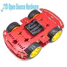 1 шт. красный Двигатель умный робот шасси автомобиля электронное производство DIY Kit Скорость кодер Батарея коробка 4WD 4 колеса автомобиль