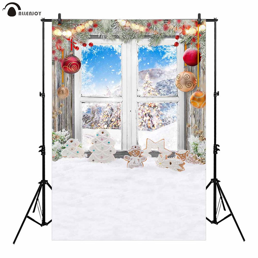 Allenjoy photography backdrops snowman decoration window winter forest Christmas landscape balls photo studio background camera allenjoy christmas photography backdrops christmas background gifts white brick wall wooden floor bulbs table for baby for kids