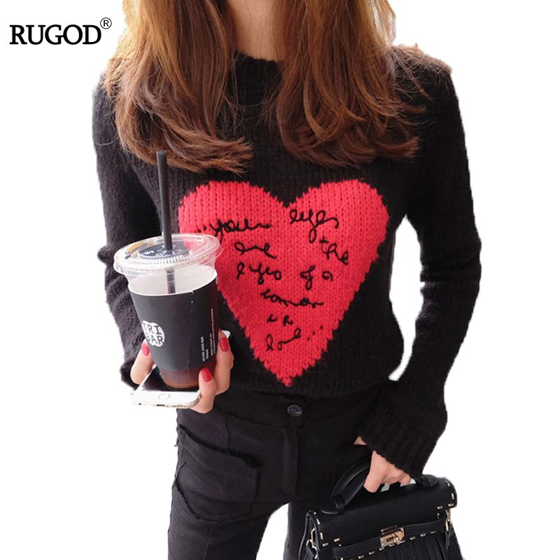 RUGOD Fashion Casual Women Sweaters And Pullovers O-neck Long Sleeve Knitted Pullover Sweater Heart Print Female Sweater