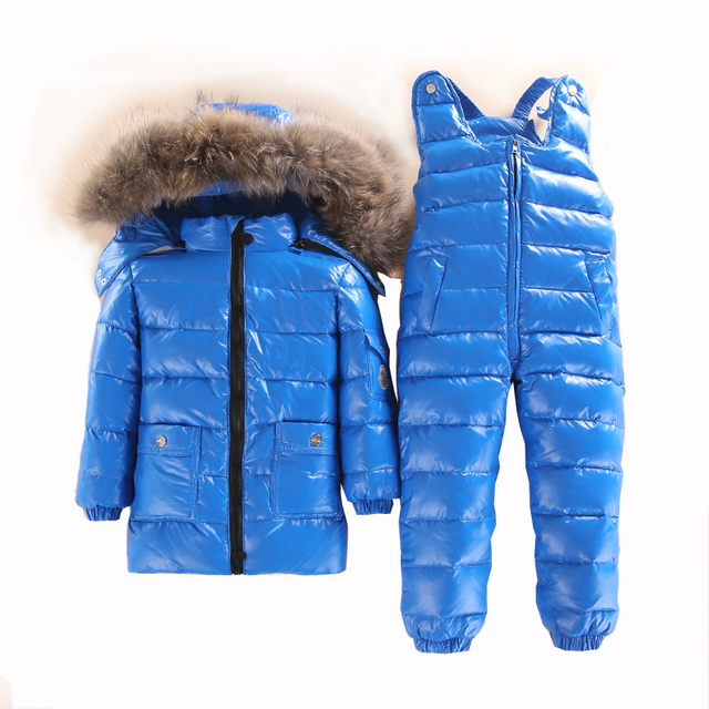 36deed6ed 3~5 Year Russian Child Winter Ski Snowsuit Baby white down Boys Waterproof  Clothing Set