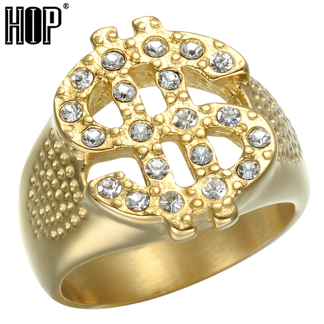 HIP Hop Rock Iced Out Bling Gold Color Titanium Stainless Steel US Dollar Sign S