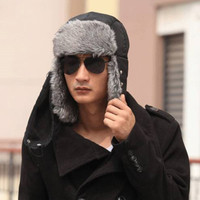 b899018c876 2018 New Extra Thick Plush Men Male Winter Warm Faux Fur Bomber Trapper  Trooper Hunting Cap