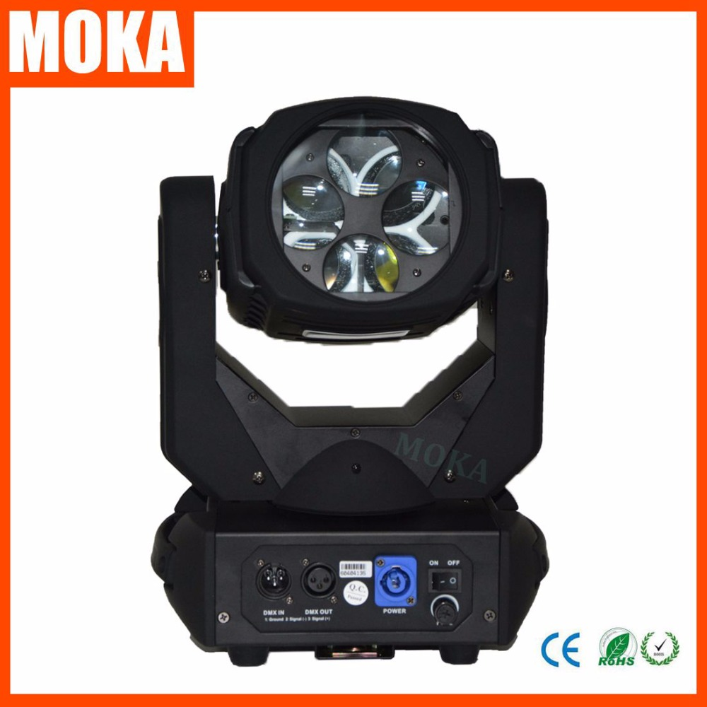 MOKA New Arrival 130W LED Mini Super Moving Beam Head Light 4*25W 9/15 DMX Channels Nightclub DJ Light