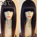 ombre human hair wig with bangs two tone full lace wig silky straight human hair for black women ombre lace front wig 1b/30